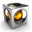 Abstract silver cube and golden ball inside — Stock Photo #8506668