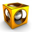 Shiny golden abstract cube and silver sphere inside — Stock Photo #8506680