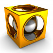 Shiny golden abstract cube and silver sphere inside — Stock Photo
