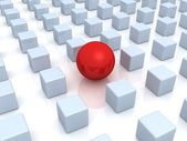 Individuality concept. unique red ball and many cubes — Stock Photo