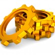 Golden industrial gears wheels on white background — Foto de stock #8712128