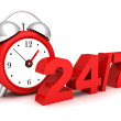 Red alarm clock with the numbers 24 and 7. concept of full availability — Stock Photo