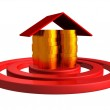 Gold money coins house as a center of red target — Stock Photo #8765323