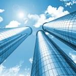 Futuristic modern blue city skyscrapers sky background — Stock Photo #8801454