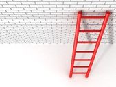 Red ladder leans against a brick wall — Stock Photo