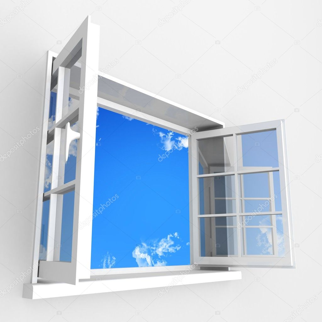 Pin blue open window clip art vector online royalty free for Acrylic windows