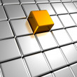 Silver metal cubes background with different golden element — Stockfoto