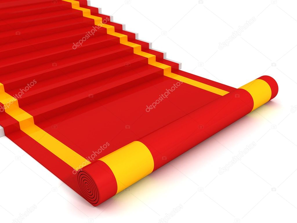 Red carpet ladder steps to success on white background — Stock Photo #8916434