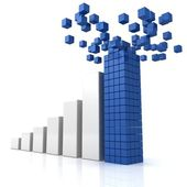 Growing bar diagram with blue leader top construction of building blocks — Stock Photo