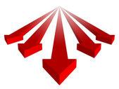 Röda pilar grupp med ledare på vit bakgrund — Stockfoto