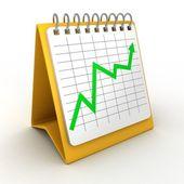 Calendario da tavolo con il verde cresce il grafico — Foto Stock
