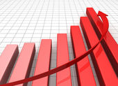 Business Graph with arrow showing profits and gains — Stock Photo