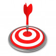 Red Dart Successfully Hitting A Target On White Background — Stock Photo
