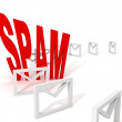Spam e-mail concept with row of envelopes on white — Stock Photo