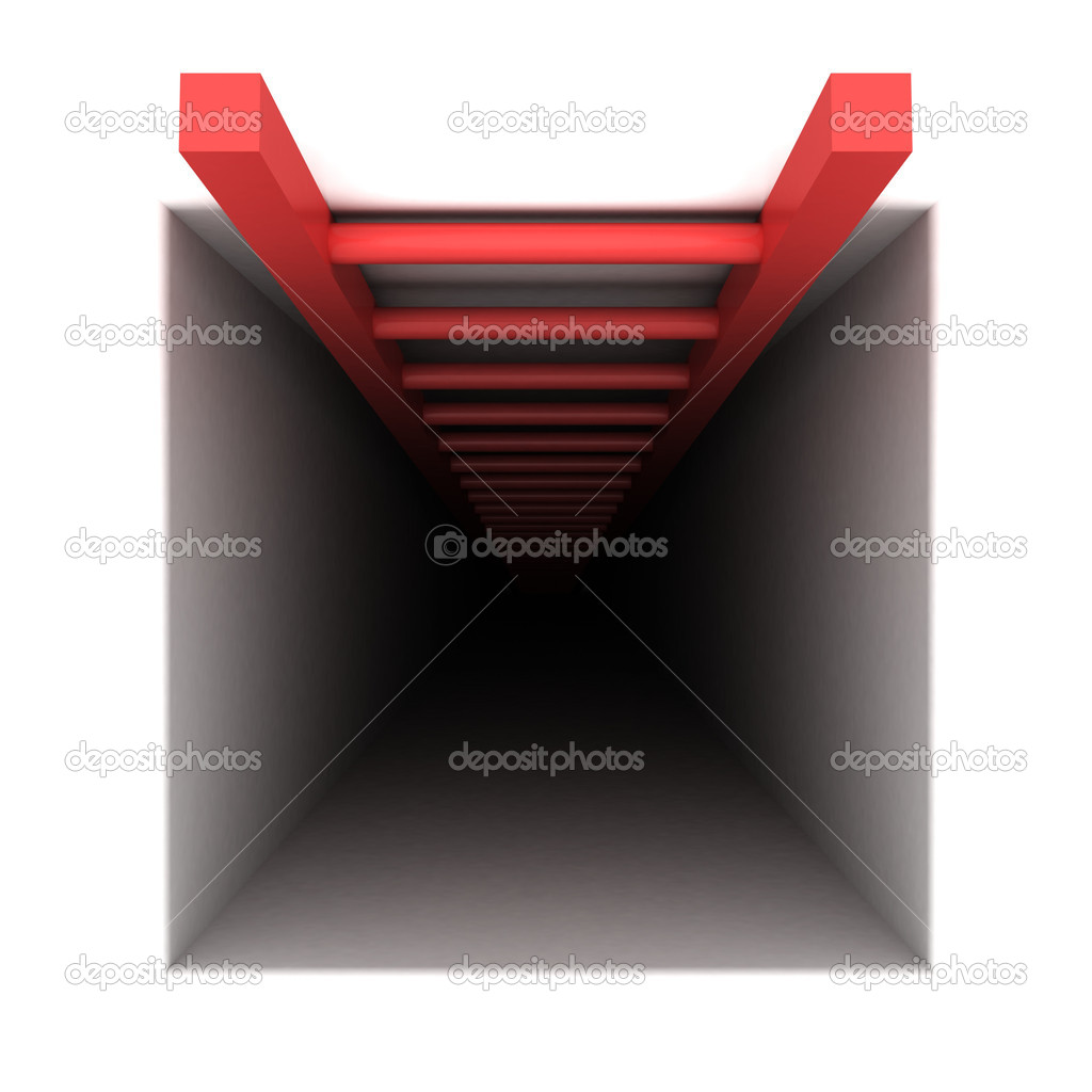 Red helping arrow from square dark crisis hole — Stock Photo #9166514