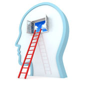 Human head withred ladder to opened sky window — Stock Photo