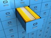 Find folder in archive drawer blue cabinet — Stock Photo