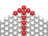 卵のカップル在白色背景上的红色概念领导阿姆谢箭头 — 图库照片