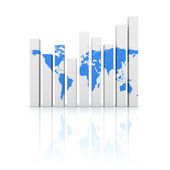 Business diagram graph with blue world map — Stock Photo