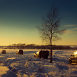 Four SUV on a winter sunset — Stock Photo