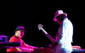 David K. Mathews and Carlos Santana — Foto de Stock
