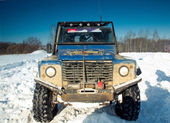 Land Rover Defender front — Stock Photo