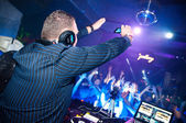 DJ shoots video on mobile phone — Stock Photo