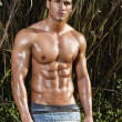 Male model with muscles on the countryside — Stock Photo #8929736