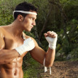 Fit male on a fighter position — Stock Photo #8972978