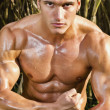 Male model with muscles on the countryside — Stock Photo #8973331