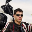 Man with a motorcycle — Stock Photo #8987058