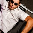 Man with white convertible — Stock Photo #8987914