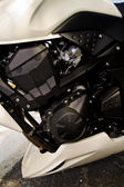 High speed motorcycle engine detail — Stock Photo