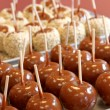 Carmelized chocolate apples — Stock Photo