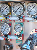 Instrument panel on fire engine — Stock Photo