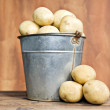 Bucket of fresh potatoes - Stock Photo