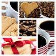 Collage of coffee and heart shaped cookies - Stock Photo