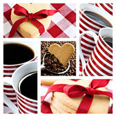 Collage of coffee and heart shaped cookies — Stock Photo