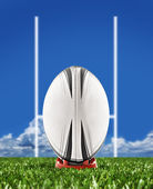 Rugby ball on field with goal posts — Stock Photo