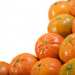 Fresh healthy mandarin citrus fruit on white background - Stock Photo