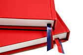Close up of two red journals on white background — Stock Photo