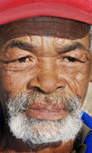 Old African black man with characterful face — Stock Photo