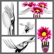 Collage of cutlery in different positions on white — Stock Photo #10342059