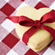Heart shaped cookies with a red ribbon — Stock Photo #10342227