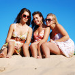 Stock Photo: Beautiful girls on the beach