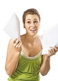 Beautiful young woman being discouraged by a overload of work - on a white background with space for text — Stock Photo
