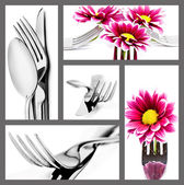 Collage of cutlery in different positions on white — Stock Photo