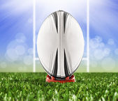 Rugby ball ready to be kicked over the goal posts — Stock Photo