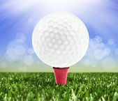 Spring background with a golf ball on a peg — Stock Photo