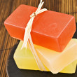 Three bars of glyderin soap in spa — Stock Photo